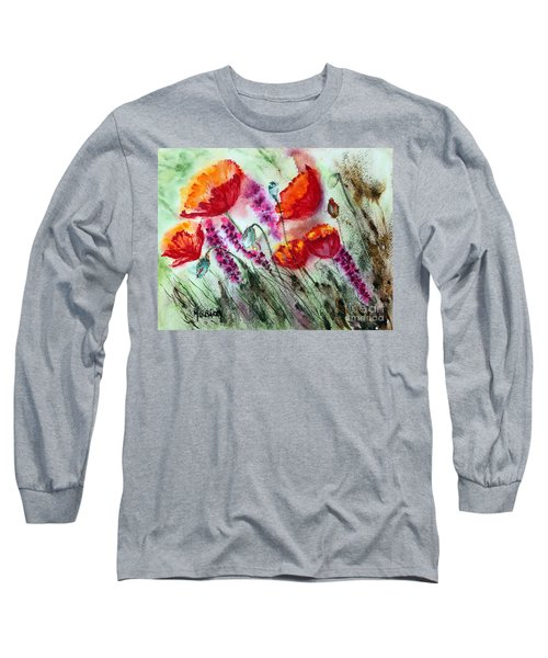 Poppies In The Wind Long Sleeve T-Shirt by Maria Barry