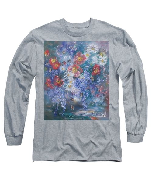 Poppies, Wisteria And Marguerites Long Sleeve T-Shirt