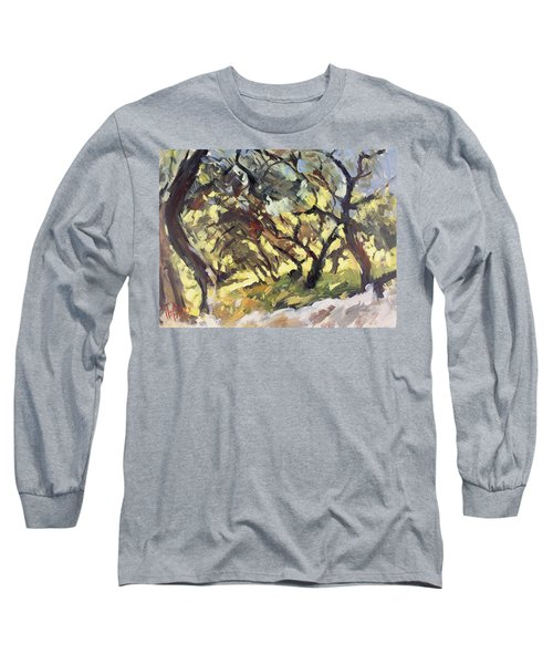 Popping Sunlight Through The Olive Grove Long Sleeve T-Shirt