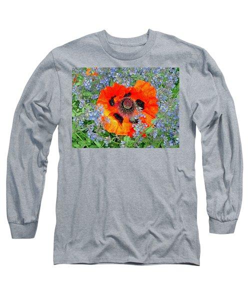 Poppy In Blue Long Sleeve T-Shirt
