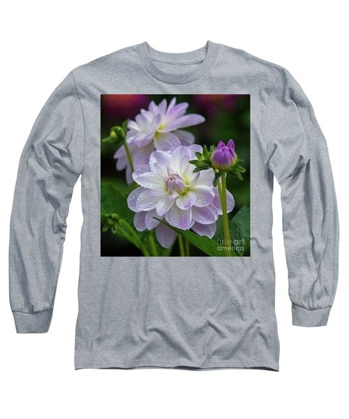 Porcelain Dahlia With Dewdrops Long Sleeve T-Shirt
