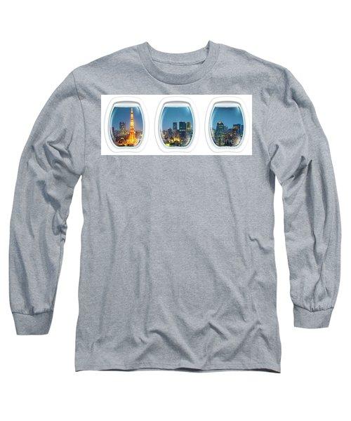 Porthole Frame On Tokyo Tower Long Sleeve T-Shirt