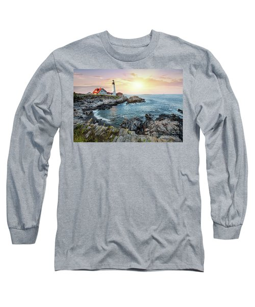 Portland Head Light At Dusk Long Sleeve T-Shirt