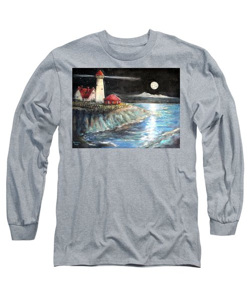 Portland Maine Twilight Long Sleeve T-Shirt by Bernadette Krupa