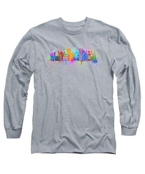 Portland Skyline In Paint Splatter Illustration Long Sleeve T-Shirt