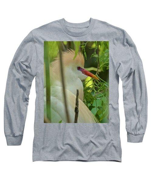 Portrait Of A Cattle Egret Long Sleeve T-Shirt