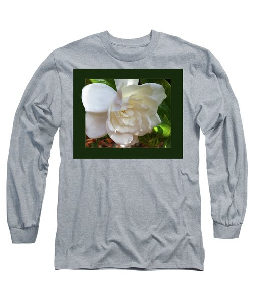 Long Sleeve T-Shirt featuring the photograph Portrait Of A Gardenia by Ginny Schmidt