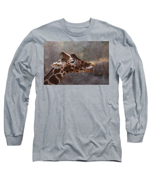 Long Sleeve T-Shirt featuring the digital art Portrait Of A Giraffe by Ernie Echols
