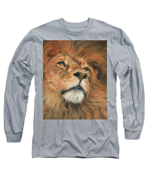 Long Sleeve T-Shirt featuring the painting Portrait Of A Lion by David Stribbling