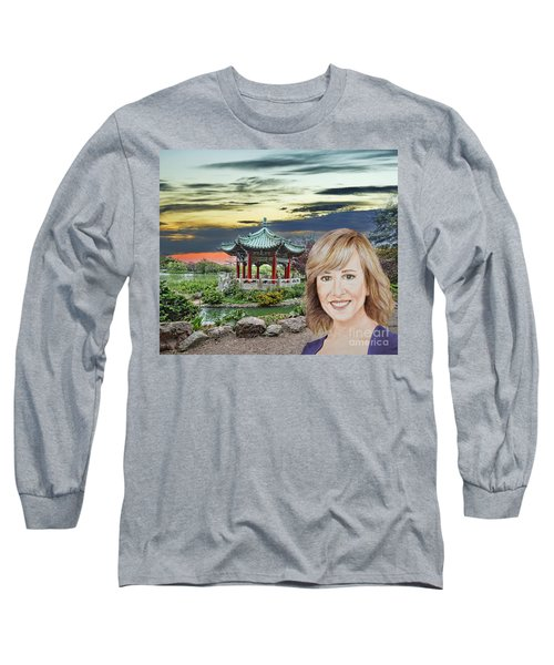 Portrait Of Jamie Colby By The Pagoda In Golden Gate Park Long Sleeve T-Shirt by Jim Fitzpatrick