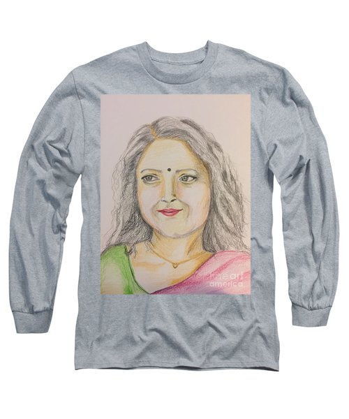 Portrait With Colorpencils 2 Long Sleeve T-Shirt