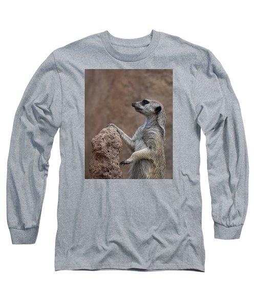 Pose Of The Meerkat Long Sleeve T-Shirt by Ernie Echols