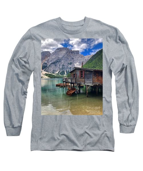Long Sleeve T-Shirt featuring the photograph Pragser Wildsee View by Jacqueline Faust