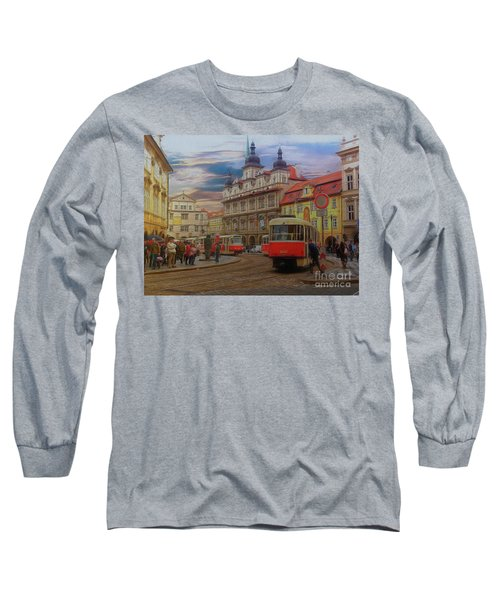 Long Sleeve T-Shirt featuring the photograph Prague, Old Town, Street Scene by Leigh Kemp