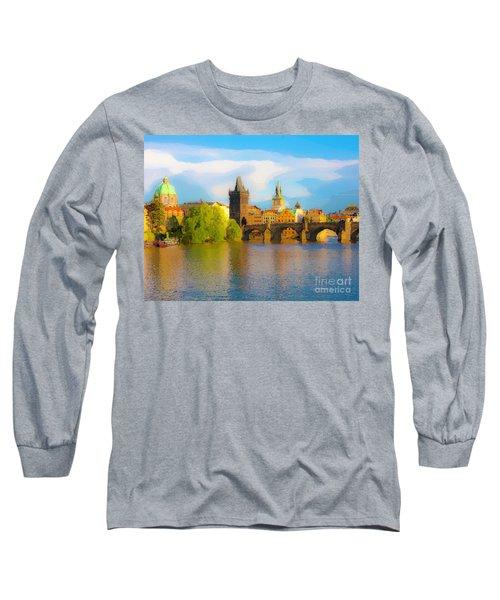 Praha - Prague - Illusions Long Sleeve T-Shirt by Tom Cameron