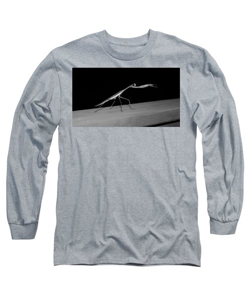 Praying Mantis In Black And White Long Sleeve T-Shirt
