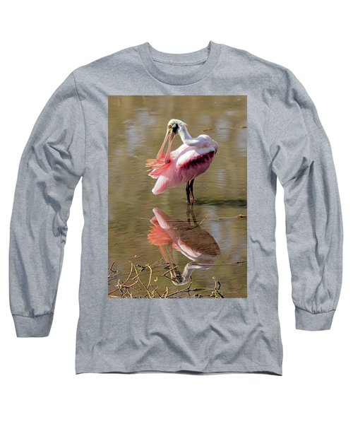 Preening Spoonbill Long Sleeve T-Shirt
