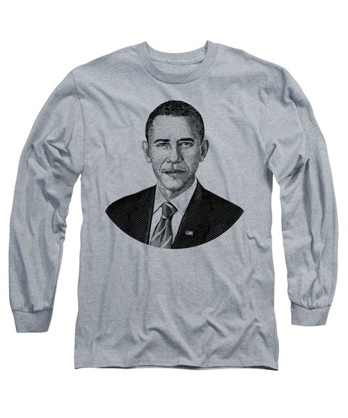 President Barack Obama Graphic Black And White Long Sleeve T-Shirt by War Is Hell Store
