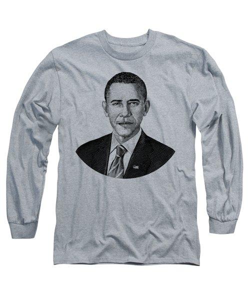 President Barack Obama Graphic Black And White Long Sleeve T-Shirt