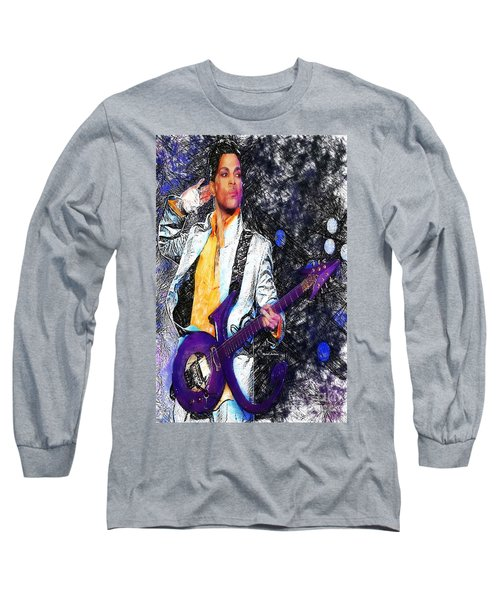 Prince - Tribute With Guitar Long Sleeve T-Shirt by Rafael Salazar