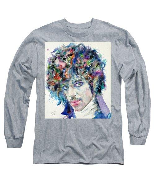 Prince - Watercolor Portrait Long Sleeve T-Shirt by Fabrizio Cassetta