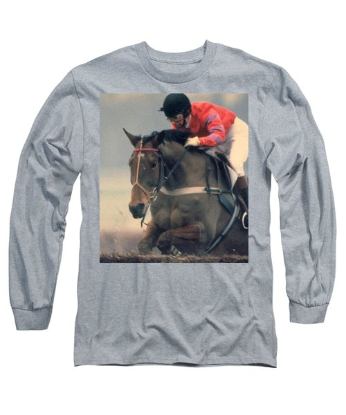 Long Sleeve T-Shirt featuring the photograph Princess Anne Riding Cnoc Na Cuille At Kempten Park by Travel Pics