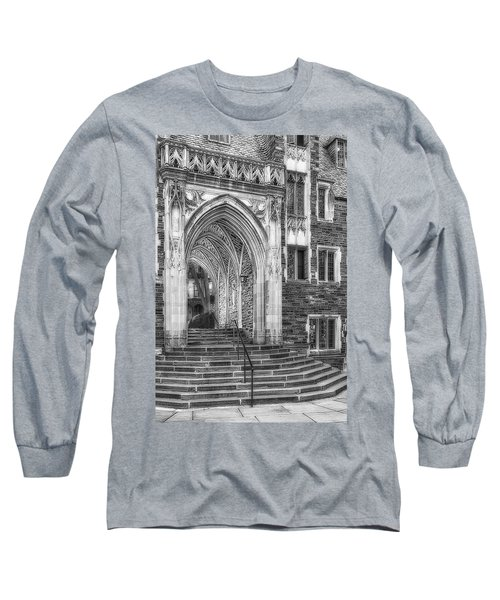 Long Sleeve T-Shirt featuring the photograph Princeton University Lockhart Hall Dorms Bw by Susan Candelario