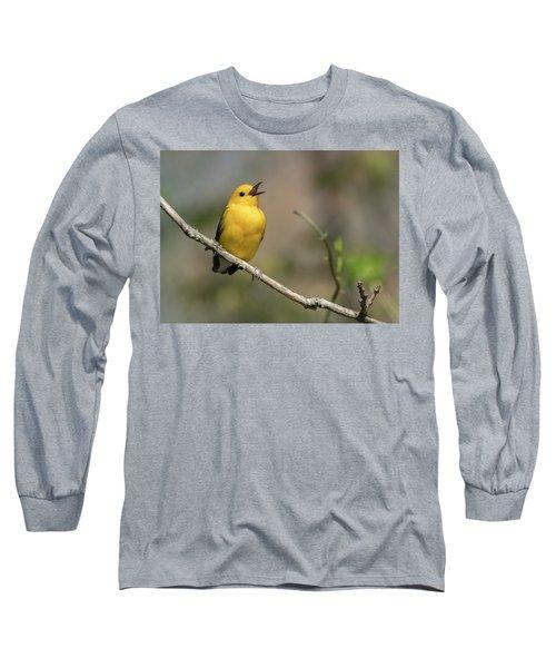 Prothonotary Warbler Singing Long Sleeve T-Shirt
