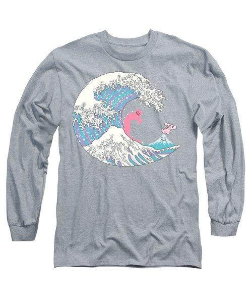 Psychodelic Bubblegum Kunagawa Surfer Cat Long Sleeve T-Shirt