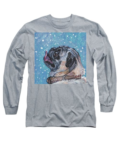 Long Sleeve T-Shirt featuring the painting Pug In The Snow by Lee Ann Shepard