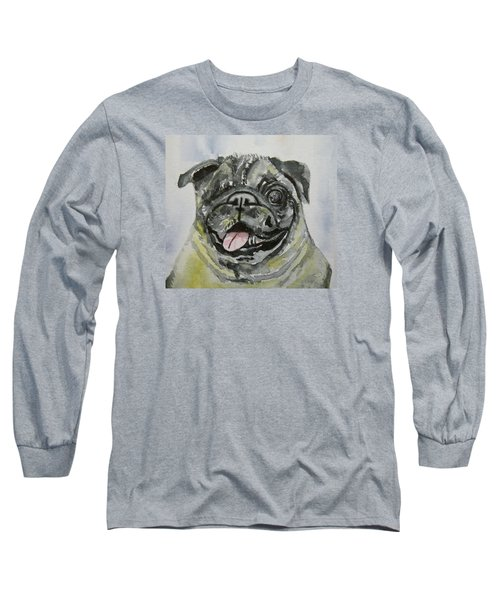 One Eyed Pug Portrait Long Sleeve T-Shirt