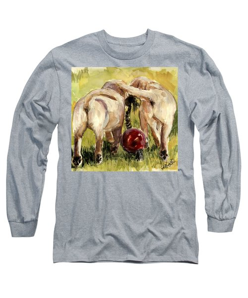 Long Sleeve T-Shirt featuring the painting Puppy Butts by Molly Poole