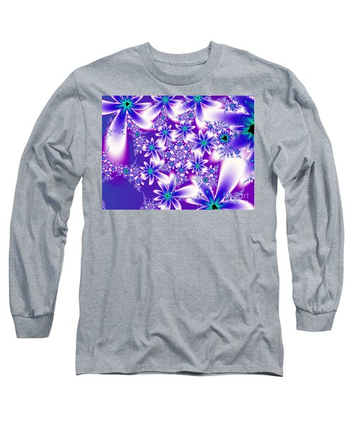 Purple And Blue Fractal Flowers Long Sleeve T-Shirt