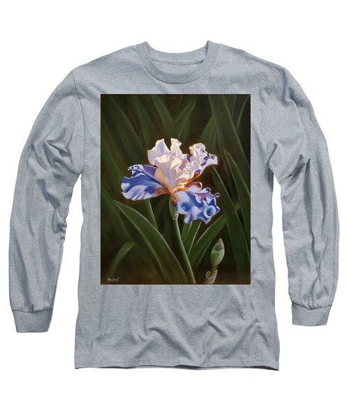 Purple And White Iris Long Sleeve T-Shirt