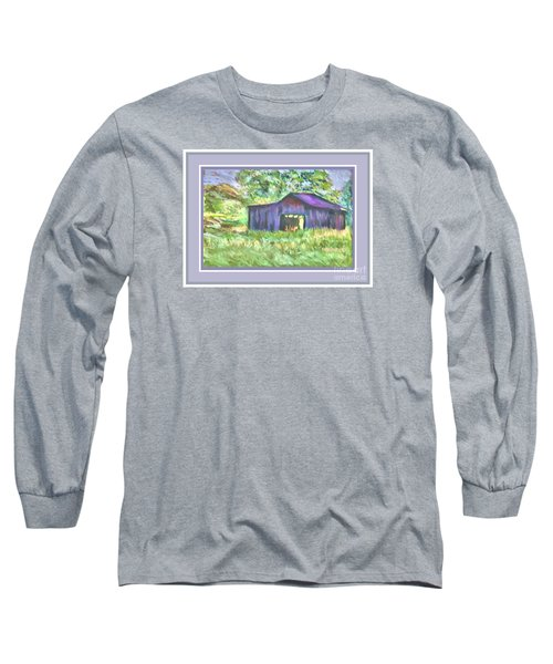 Long Sleeve T-Shirt featuring the photograph Purple Barn Grey Border by Shirley Moravec