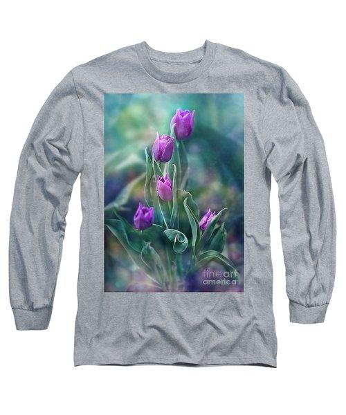 Purple Dignity Long Sleeve T-Shirt by Agnieszka Mlicka