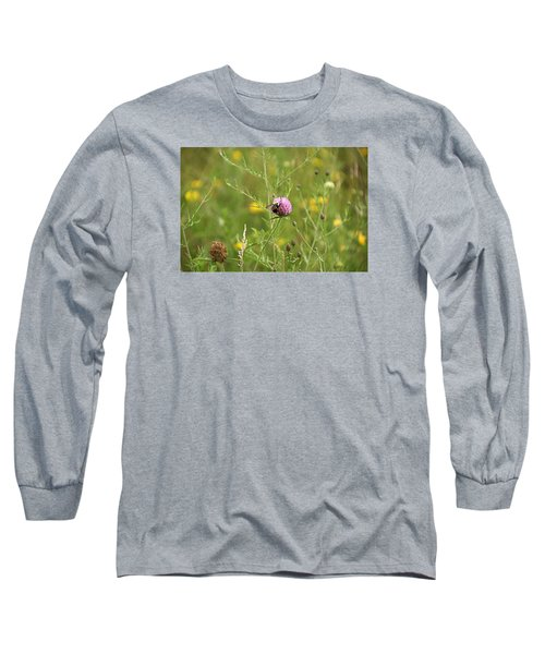 Purple Flower And Bee Long Sleeve T-Shirt