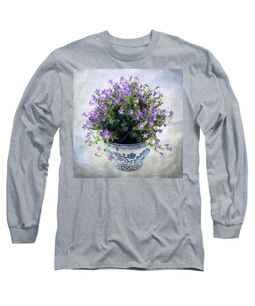 Long Sleeve T-Shirt featuring the photograph Purple Flowers In Pot by Catherine Lau
