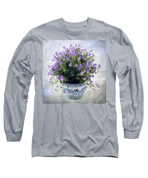 Purple Flowers In Pot Long Sleeve T-Shirt by Catherine Lau