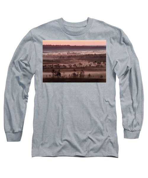 Purple Fog On Swamp Long Sleeve T-Shirt by Teemu Tretjakov