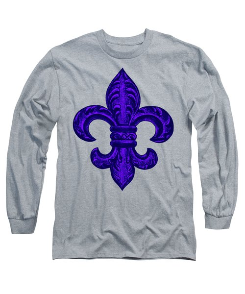 Purple French Fleur De Lys, Floral Swirls Long Sleeve T-Shirt by Tina Lavoie