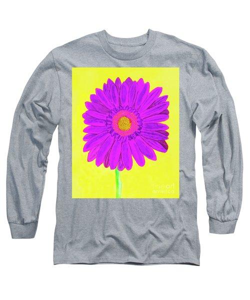 Purple  Gerbera On Yellow, Watercolor Long Sleeve T-Shirt