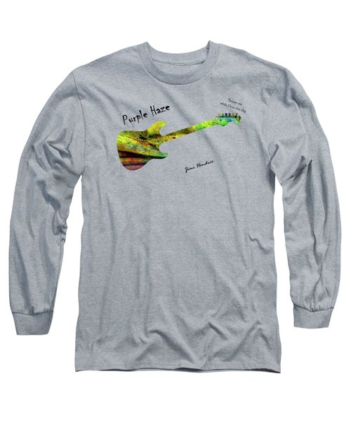 Long Sleeve T-Shirt featuring the painting Purple Haze Scuse Me While I Kiss The Sky Hendrix by David Dehner