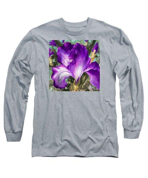 Purple Iris Long Sleeve T-Shirt by Vali Irina Ciobanu