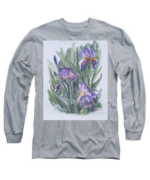 Purple Iris Watercolor Long Sleeve T-Shirt