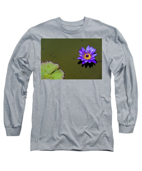 Purple Lily With Tiny Fish Long Sleeve T-Shirt