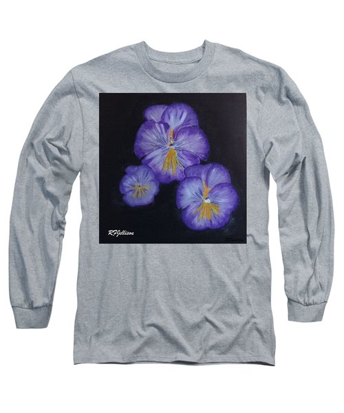 Long Sleeve T-Shirt featuring the painting Purple Pansies by Rod Jellison