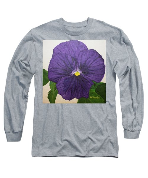 Purple Pansy Long Sleeve T-Shirt by Wendy Shoults