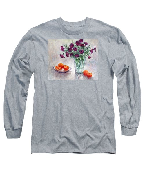 Purple Petunias And Oranges Long Sleeve T-Shirt by Jill Musser