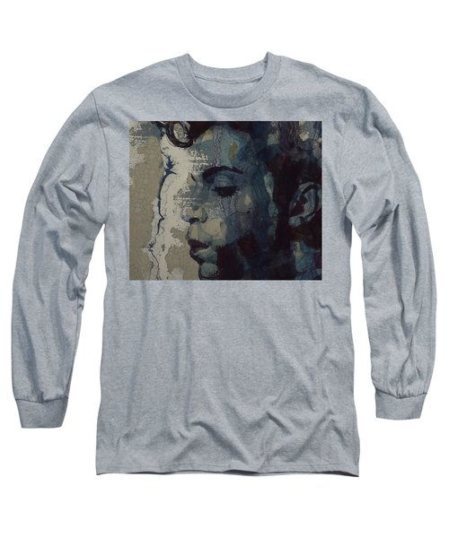 Long Sleeve T-Shirt featuring the mixed media Purple Rain - Prince by Paul Lovering